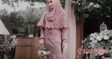 Model Baju Dress Kebaya Brokat Muslim Peach Tua