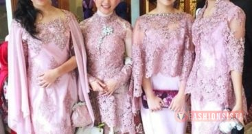 Baju Kebaya Brokat Modern Model Cape Pink Peach