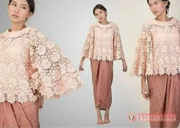 Baju Kebaya Brokat Modern Model Cape Peach Coral