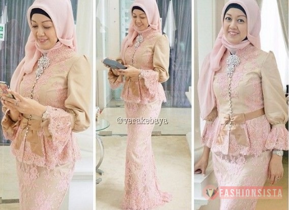 Dress Kebaya Brokat Peplum Model Dress Soft Peach