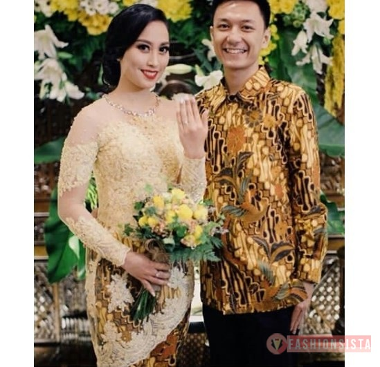 Baju Kebaya Couple Brokat Payet Transparan Kuning Soft