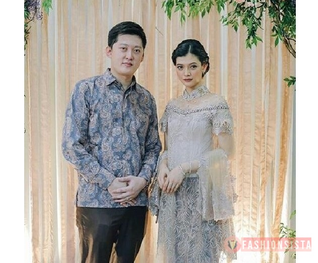 Baju Couple Pesta Kebaya Mewah Brokat Payet Transparan Soft Grey