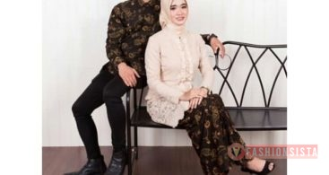 Baju Kebaya Couple Kancing Depan Soft Peach