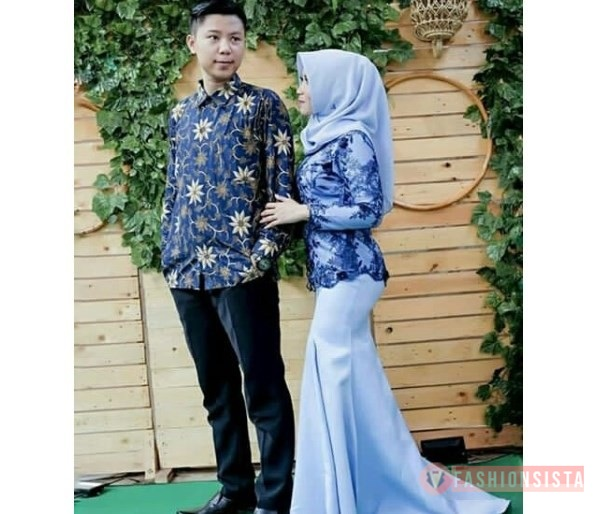 Baju Couple Pesta Kebaya Mewah Model Duyung Navy Blue