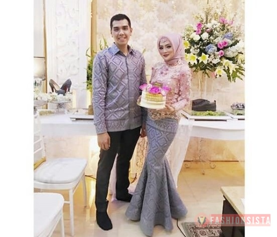 Baju Couple Pesta Kebaya Mewah Model Duyung Soft Pink Abu