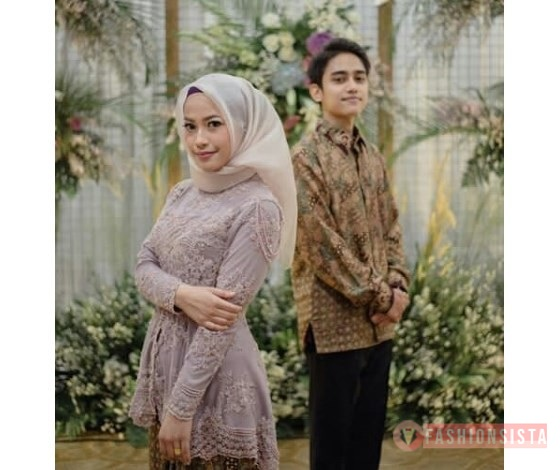 Baju Couple Kemeja Batik Kebaya Model Peplum Soft Grey