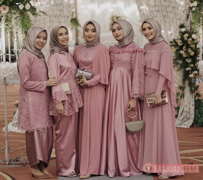 Dress Kebaya Hijab Brokat Muslim Dusty Pink