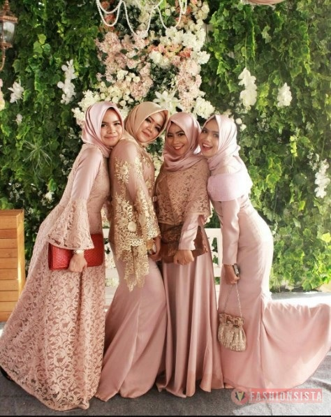 Dress Kebaya Hijab Brokat Muslim Full Pink