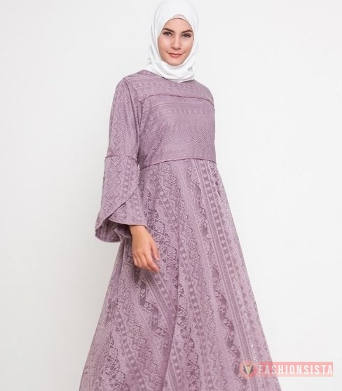 Model Baju Dress Kebaya Hijab Brokat Muslim Lavender