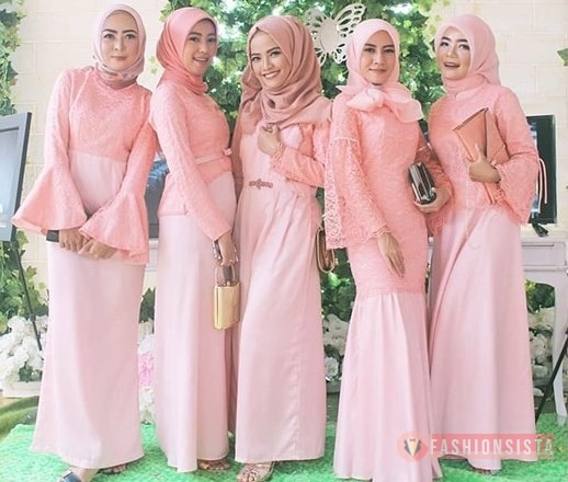 Model Baju Dress Kebaya Brokat Muslim Peach Fashionsista Co