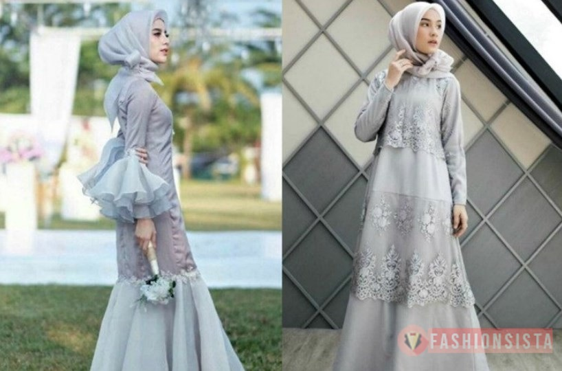Model Kebaya Brokat Hijab Dress Muslim Silver Kombinasi Organza