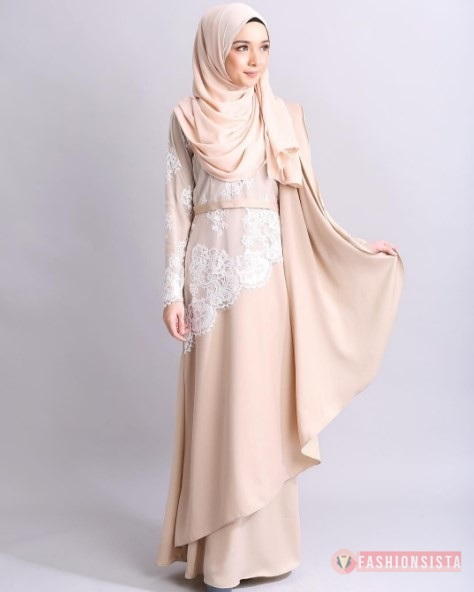 Model Baju Dress Kebaya Brokat Muslim Berhijab Soft Cream