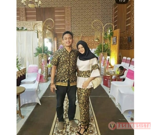 Model Baju Kebaya Couple Kain Polos dan Batik Cream Muda