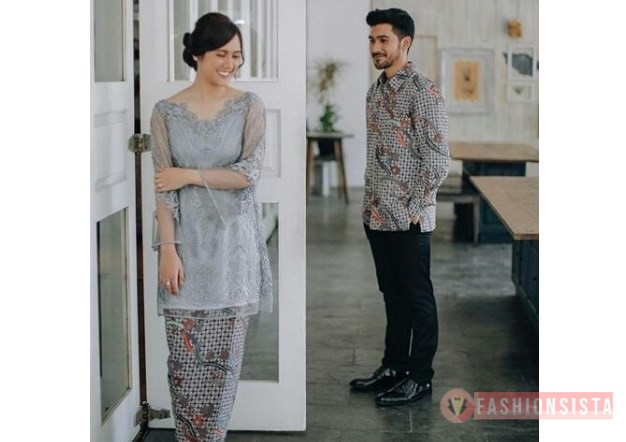 Model Baju Kebaya Couple Panjang Abu Muda