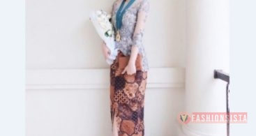 Model Baju Dress Kebaya Brokat Muslim Selendang Bahu