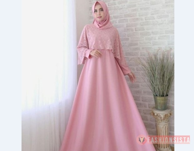 Model Baju Pesta Sederhana Simple Cape Pink