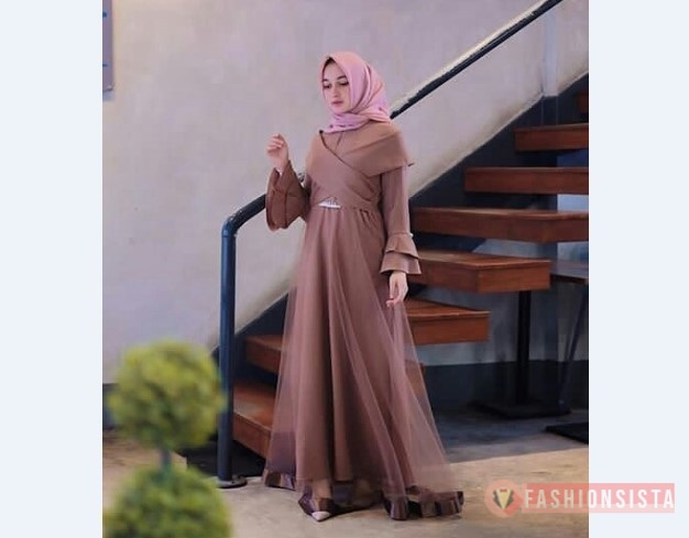 Model Baju Pesta Sederhana Simple Modern Dress Coklat Susu Sifon Organza