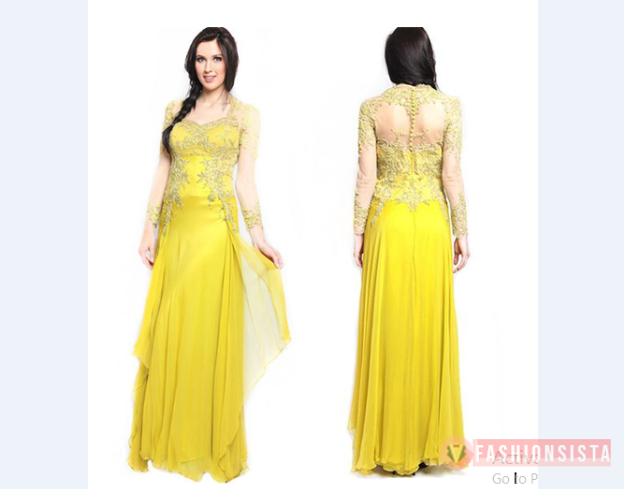 Model Kebaya Modern Dress Brokat Warna Kuning Muda