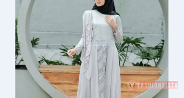 Model Kebaya Modern Brokat Kombinasi Batik Soft Grey