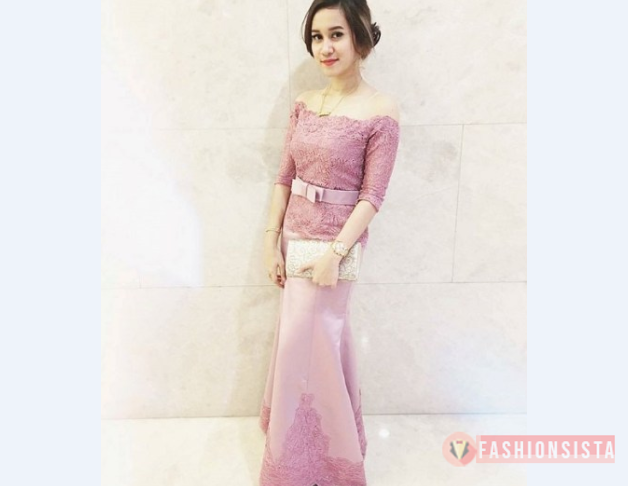 Model Kebaya Modern Lengan Pendek Soft Pink Fashionsista Co