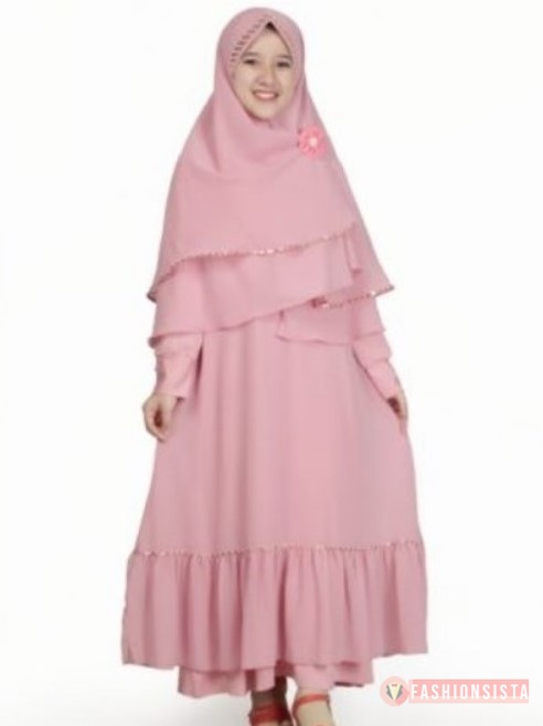 Model Gamis Anak Polos Simple Rok Rempel Soft Pink