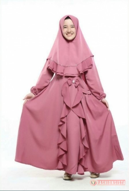 Model Gamis Anak Trendy Rok Rempel Pita Dusty Pink