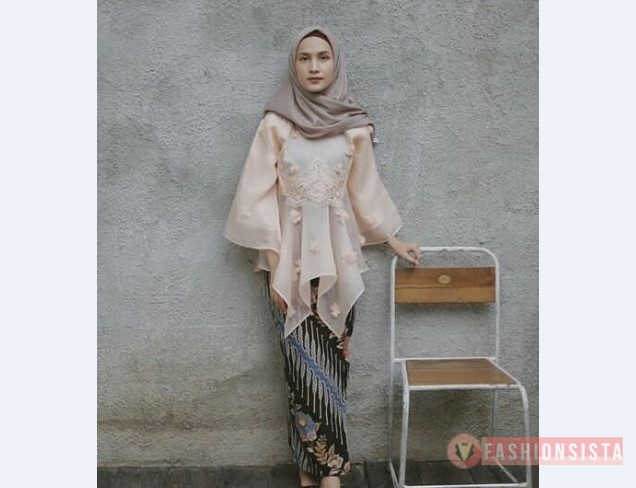 Model Kebaya Muslim Blouse Soft Peach