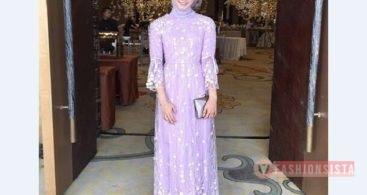 Model Kebaya Muslim Dress Hijab Lengan Terompet Lavender