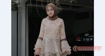 Kebaya Brokat Modern Model Tunic Soft Cream