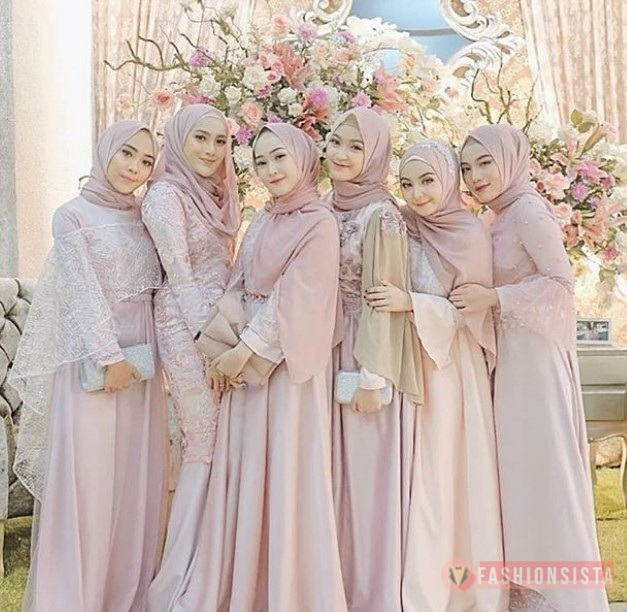 Model Baju Kebaya Brokat Hijab Model Dress Kombinasi Satin Soft Pink