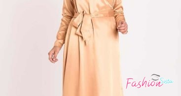 Model Gamis Pesta Hijab Modern Orange Gold