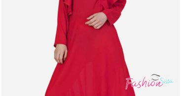 Model Gamis Pesta Merah Polos Simple dan Elegan