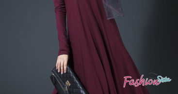 Model Gamis Pesta Nikah Marun Polos Simple