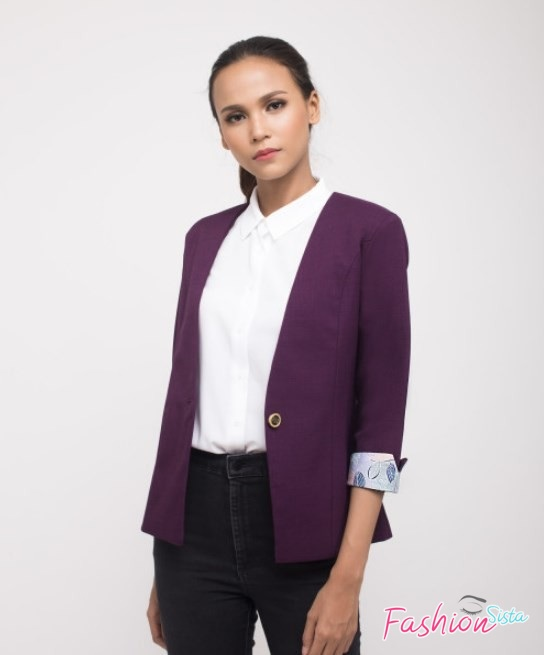 Blazer wanita model hip length