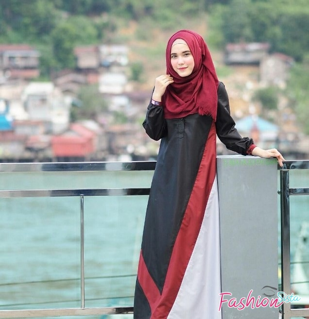 Gaun dress batik muslim kombinasi