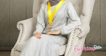Model Baju Dress Kebaya Brokat Muslim Peach